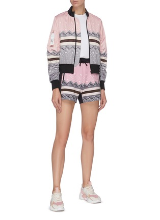 Figure View - Click To Enlarge - FILA X 3.1 PHILLIP LIM - Icelandic knit print colourblock bomber jacket
