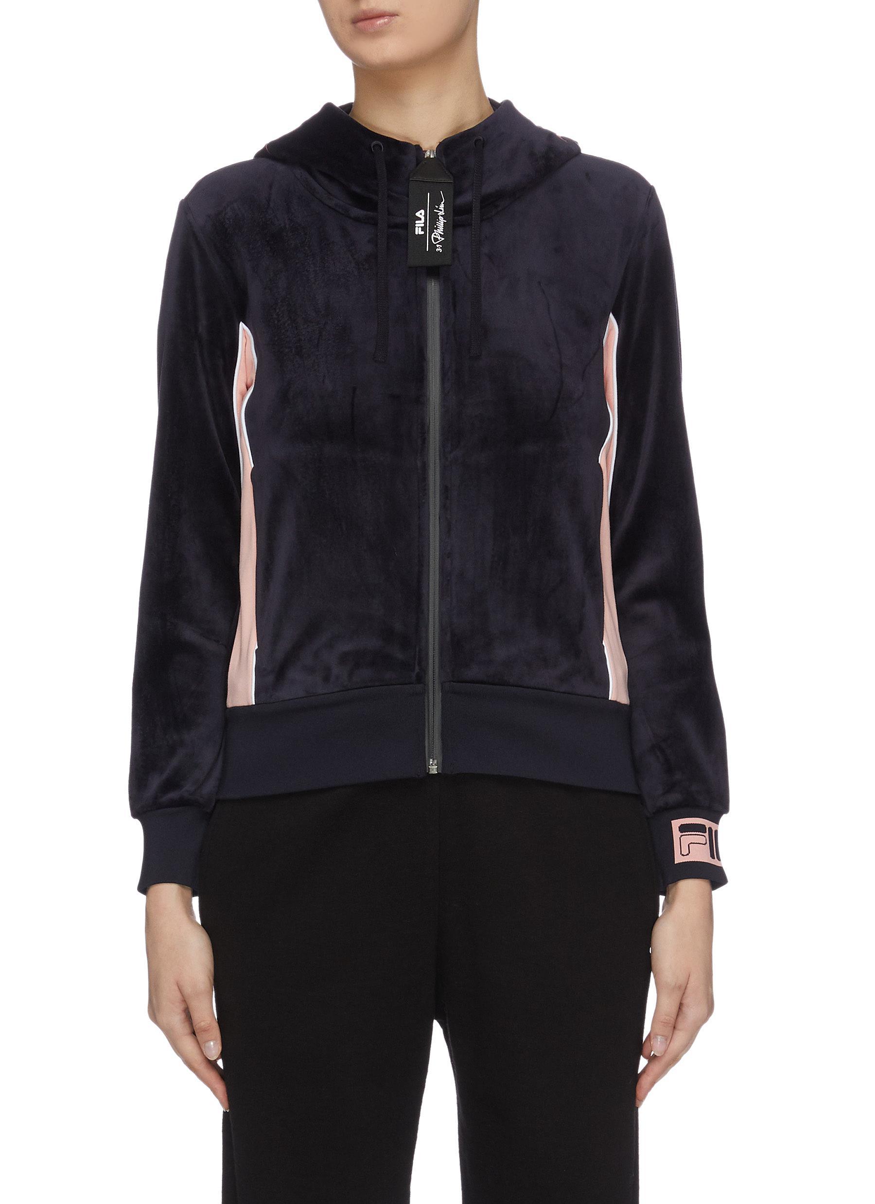 shop Fila X 3.1 Phillip Lim Contrast outseam logo hood velvet track jacket online
