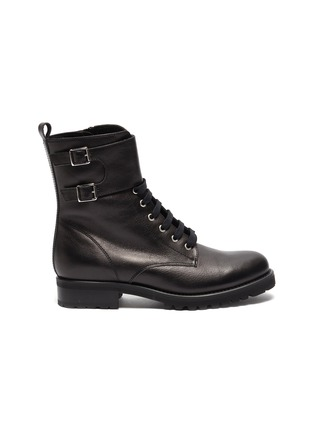 Main View - Click To Enlarge - FABIO RUSCONI - 'Goldy' lace up leather biker boots