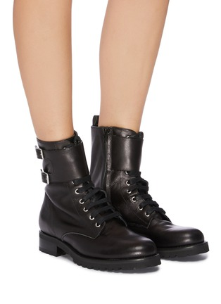 Figure View - Click To Enlarge - FABIO RUSCONI - 'Goldy' lace up leather biker boots