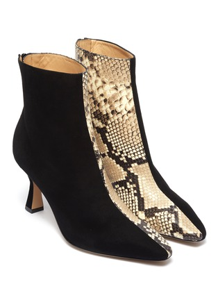 Detail View - Click To Enlarge - FABIO RUSCONI - 'Como' suede panel snake-embossed leather ankle boots