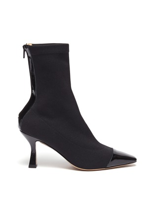 Main View - Click To Enlarge - FABIO RUSCONI - Contrast patent leather toe sock boots
