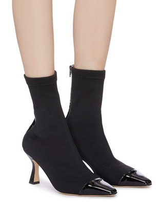 Figure View - Click To Enlarge - FABIO RUSCONI - Contrast patent leather toe sock boots