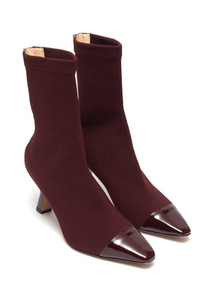 Detail View - Click To Enlarge - FABIO RUSCONI - Contrast patent leather toe sock boots