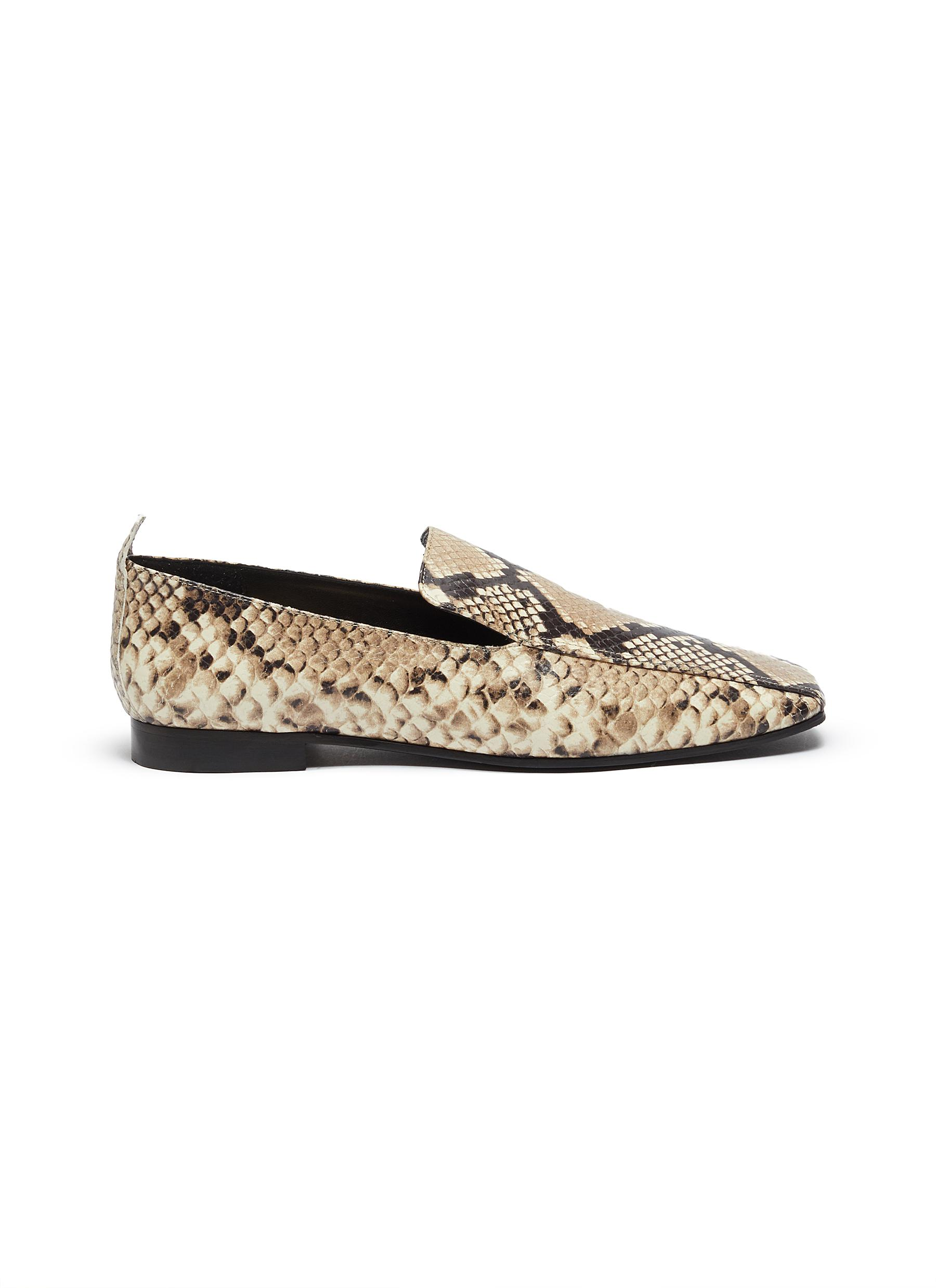 Snake-embossed leather loafers by Fabio Rusconi