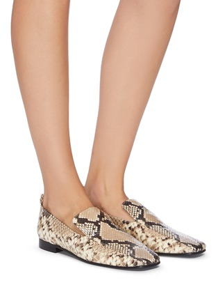 Figure View - Click To Enlarge - FABIO RUSCONI - Snake-embossed leather loafers