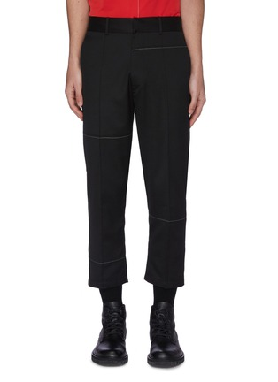 Main View - Click To Enlarge - THE WORLD IS YOUR OYSTER - Contrast topstitch crop tailored pants