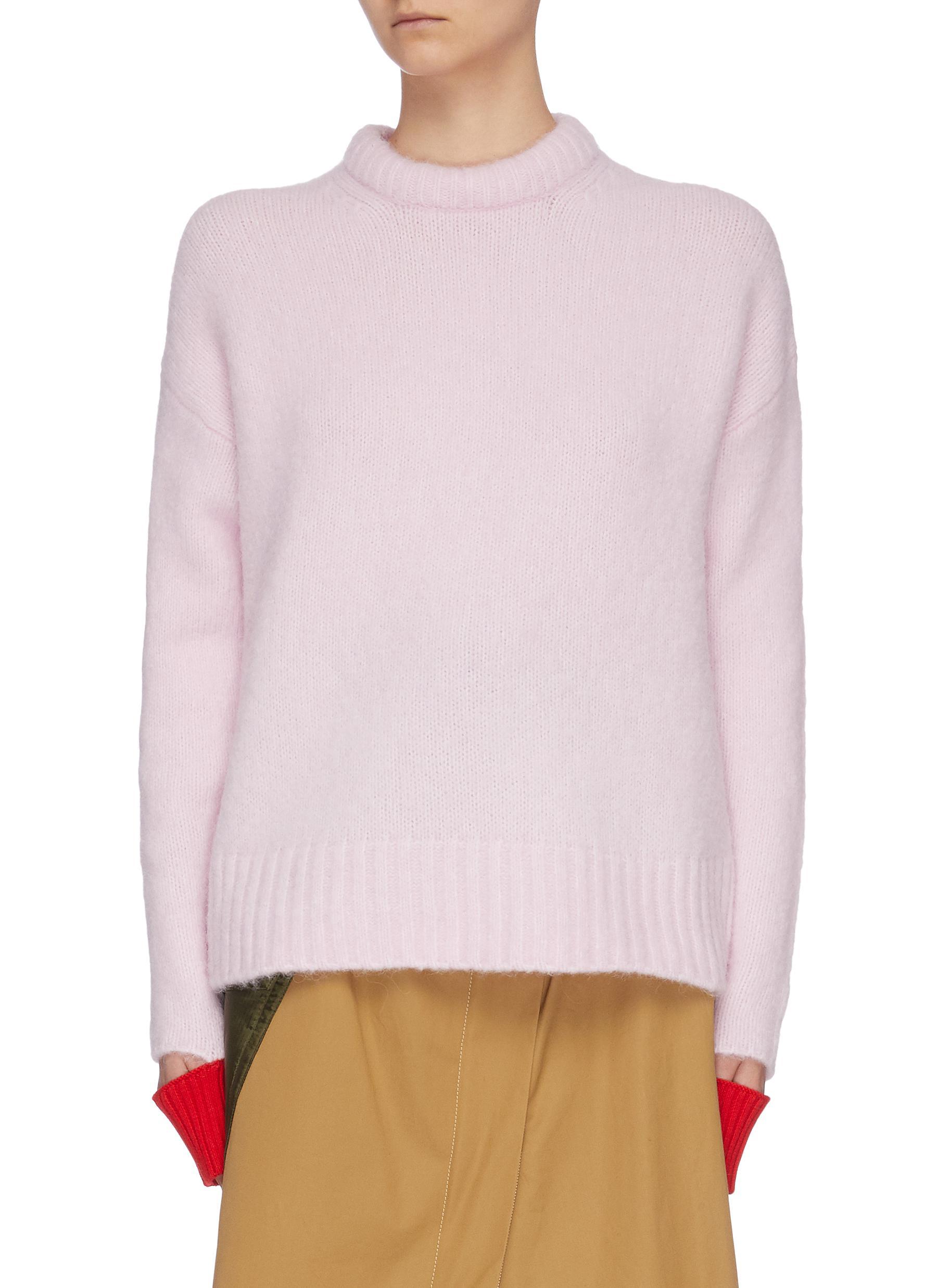 Buy Short Sentence Knitwear Colourblock cuff alpaca wool blend sweater