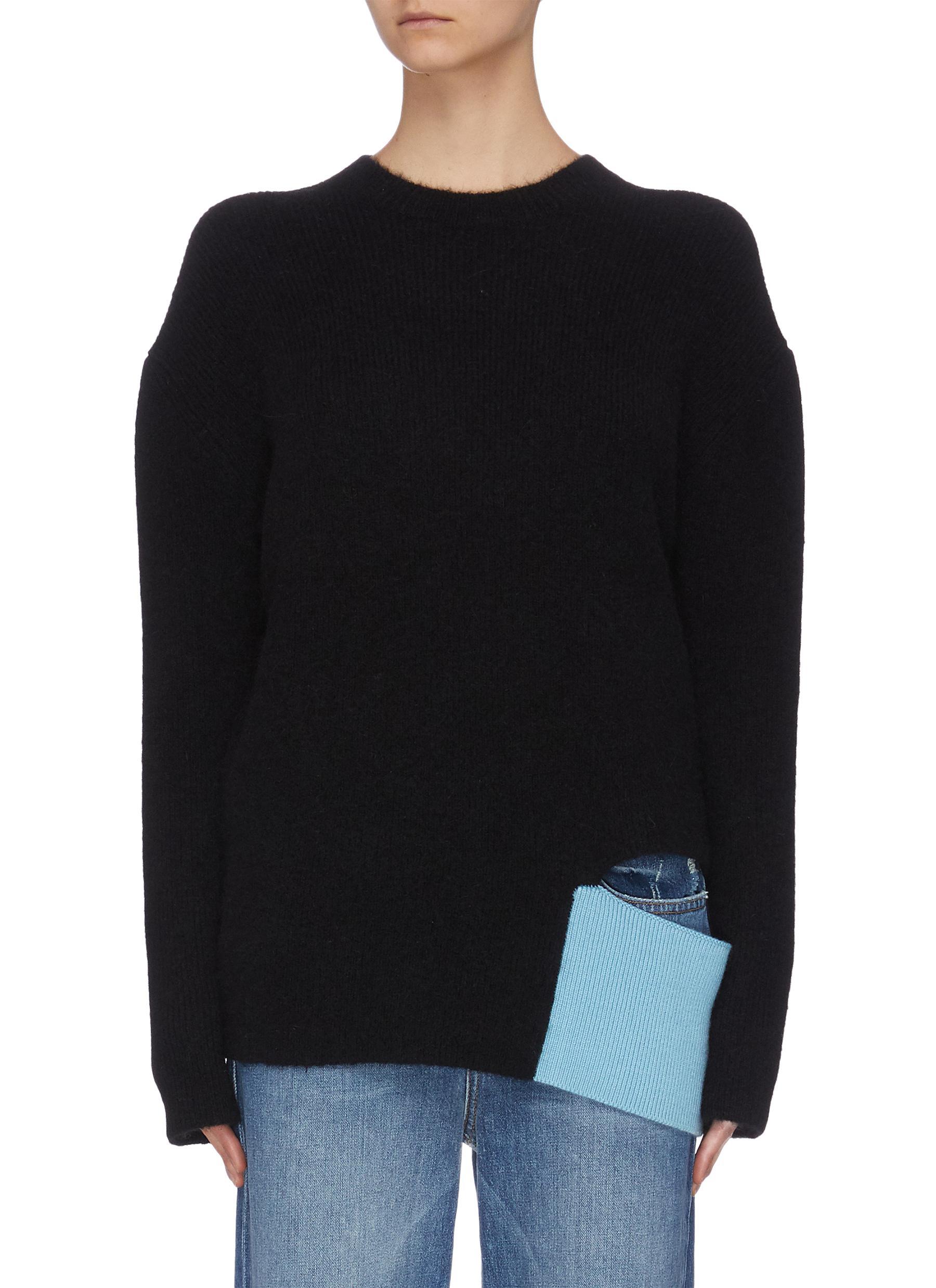 shop Short Sentence Drop shoulders colourblock panel cutout sweater online