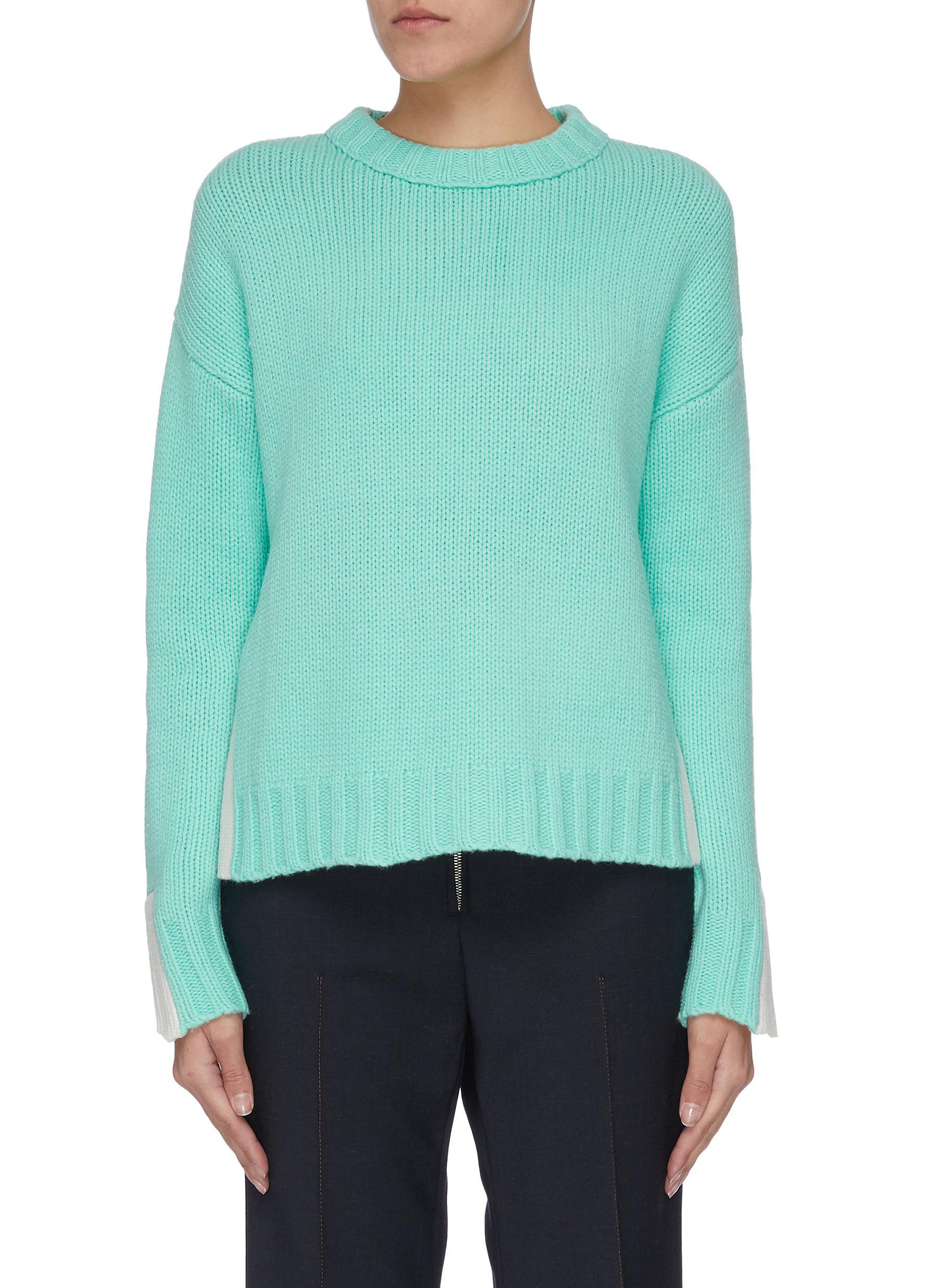 shop Short Sentence Paneled crew neck sweater online