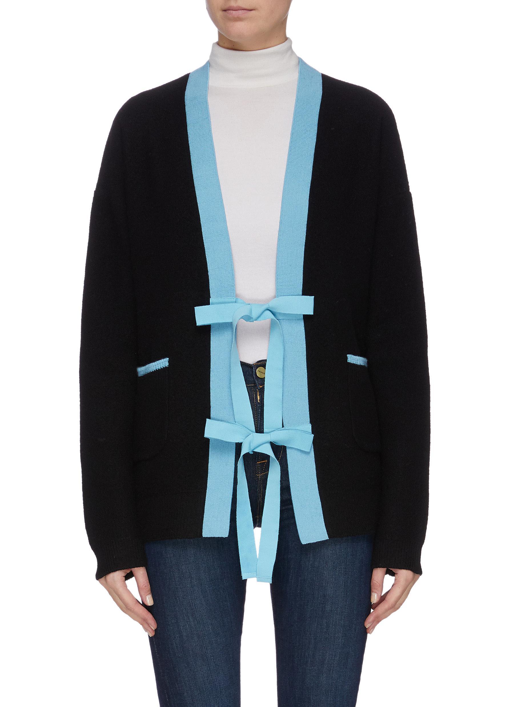shop Short Sentence Contrast panel sash tie cardigan online