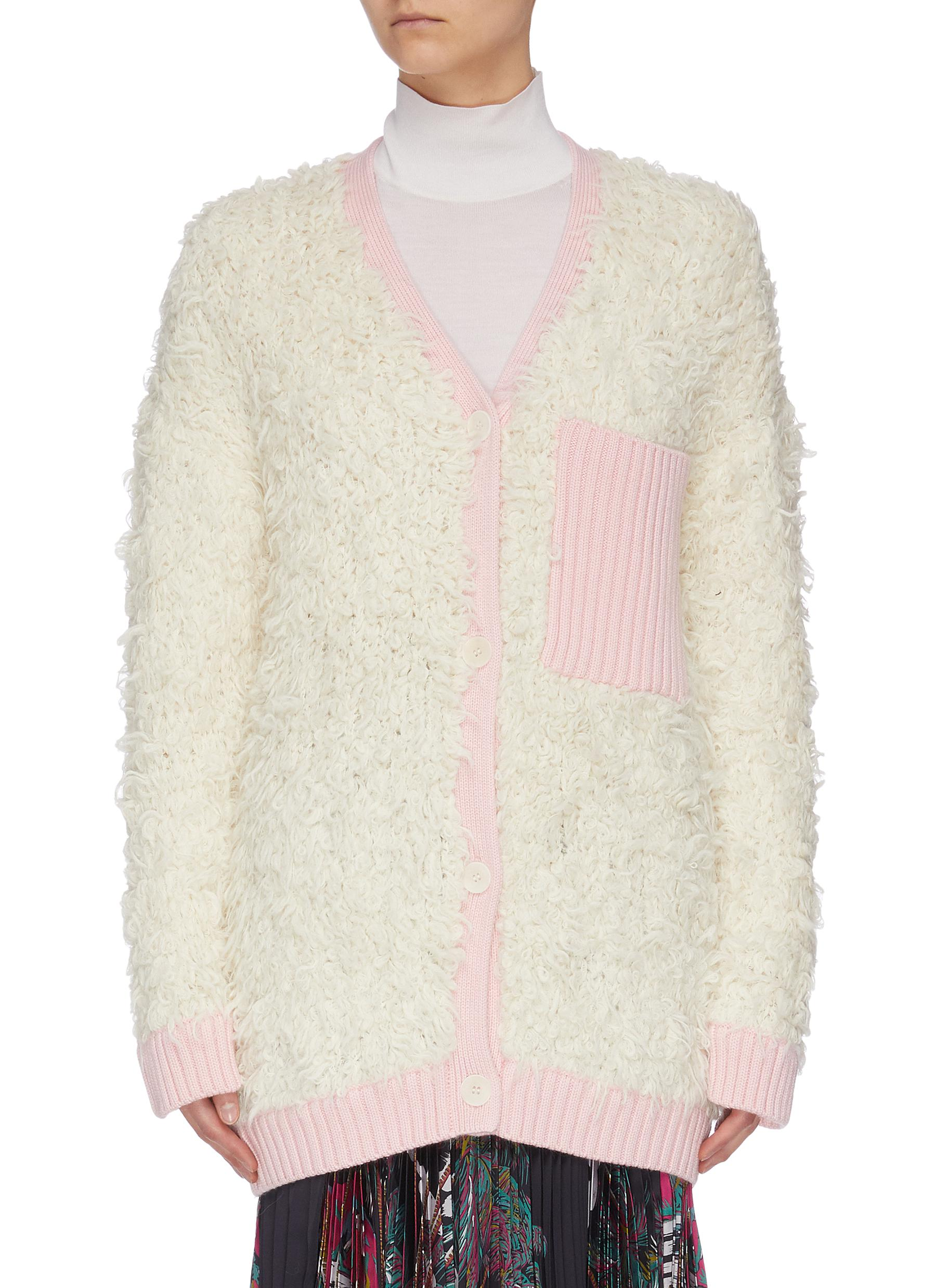Buy Short Sentence Knitwear 'Fluffy Teddy' ribbed pocket cardigan