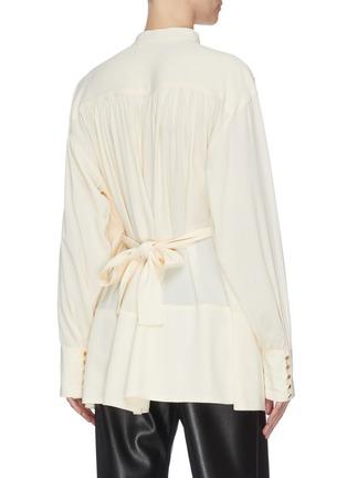 Back View - Click To Enlarge - PROENZA SCHOULER - Sash tie waist crepe blouse