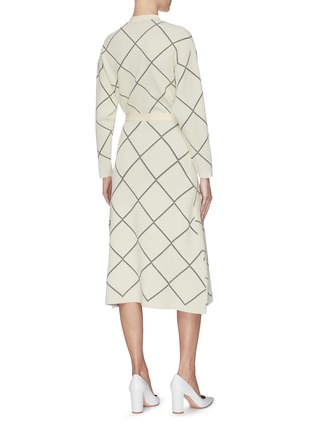 Back View - Click To Enlarge - PROENZA SCHOULER - Windowpane check waist tie wrap midi dress