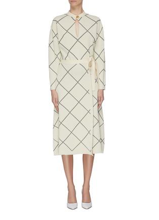 Main View - Click To Enlarge - PROENZA SCHOULER - Windowpane check waist tie wrap midi dress