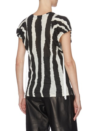 Back View - Click To Enlarge - PROENZA SCHOULER - Zebra stripe print puff sleeve T-shirt