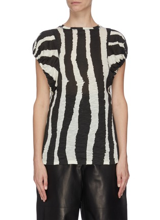 Main View - Click To Enlarge - PROENZA SCHOULER - Zebra stripe print puff sleeve T-shirt