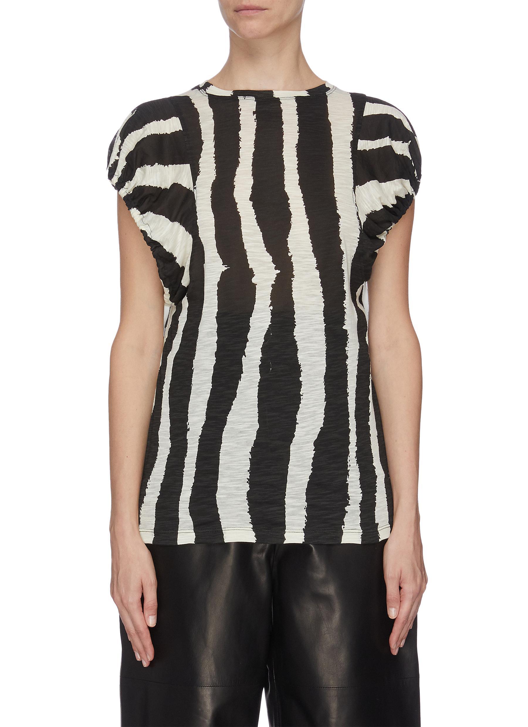 shop Proenza Schouler Zebra stripe print puff sleeve T-shirt online