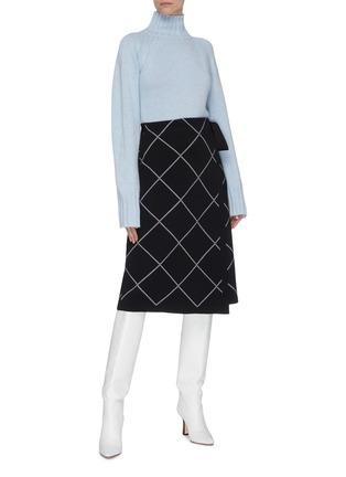 Figure View - Click To Enlarge - PROENZA SCHOULER - Windowpane check wrap midi skirt