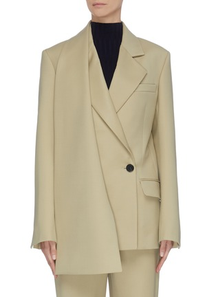 Main View - Click To Enlarge - PROENZA SCHOULER - Asymmetric scarf lapel single button blazer