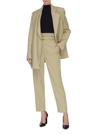 Figure View - Click To Enlarge - PROENZA SCHOULER - Asymmetric scarf lapel single button blazer