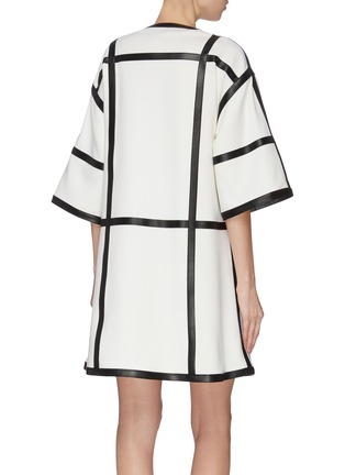 Back View - Click To Enlarge - PROENZA SCHOULER - Windowpane check leather trim dress