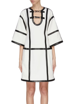 Main View - Click To Enlarge - PROENZA SCHOULER - Windowpane check leather trim dress