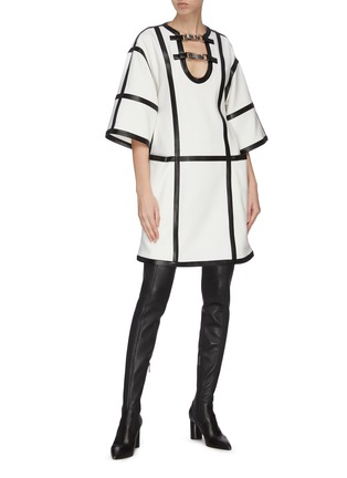 Figure View - Click To Enlarge - PROENZA SCHOULER - Windowpane check leather trim dress