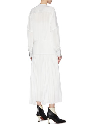 Back View - Click To Enlarge - PROENZA SCHOULER - Contrast lining pleated neck tie shirt dress