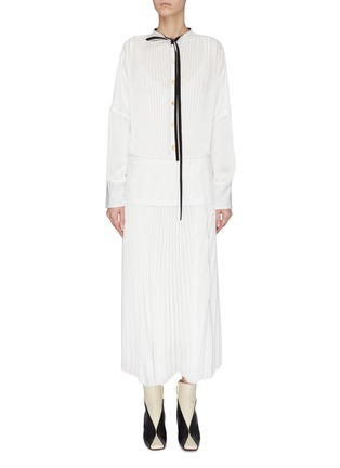 Main View - Click To Enlarge - PROENZA SCHOULER - Contrast lining pleated neck tie shirt dress