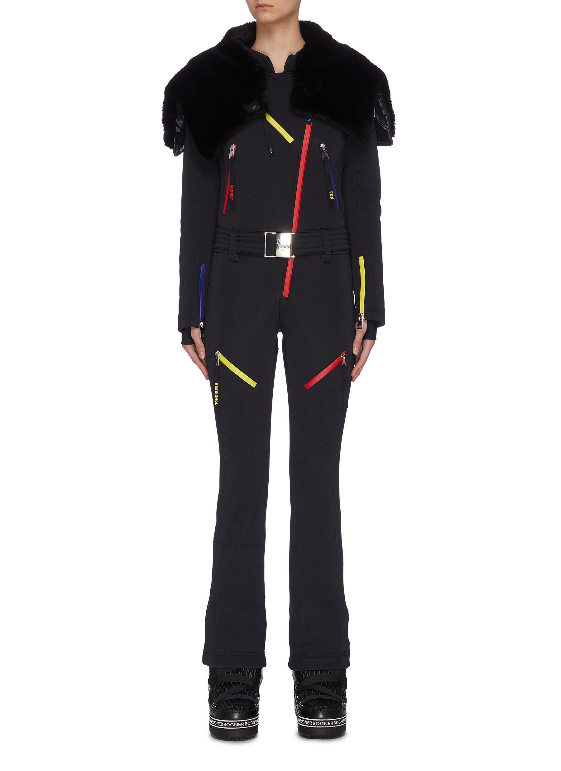 shop Rossignol x JCC 'Wari' fur hood contrast zipper belted overalls online