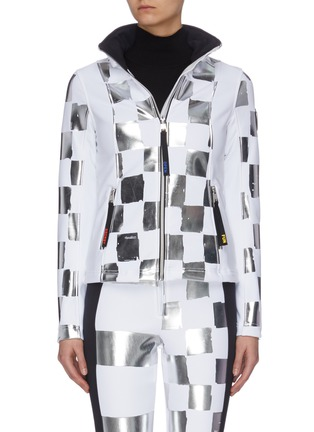 Main View - Click To Enlarge - ROSSIGNOL - x JCC 'Wari' metallic check soft shell ski jacket