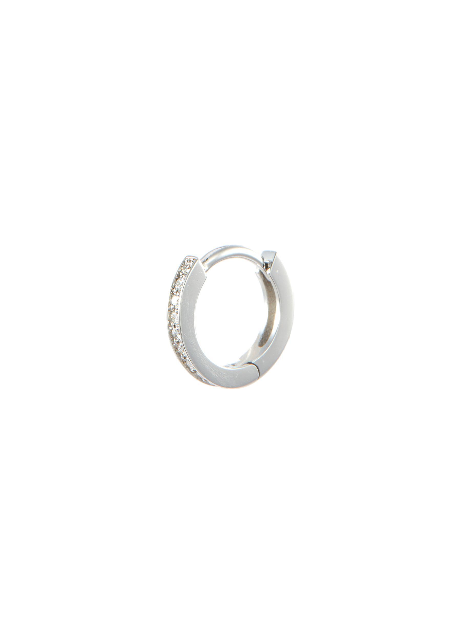 Repossi 'berbère' Diamond 18k White Gold Mini Single Hoop Earring In Metallic