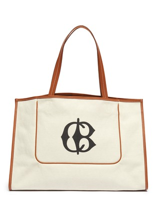Main View - Click To Enlarge - CONNOLLY - Leather trim canvas beach tote