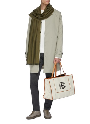 Figure View - Click To Enlarge - CONNOLLY - Leather trim canvas beach tote
