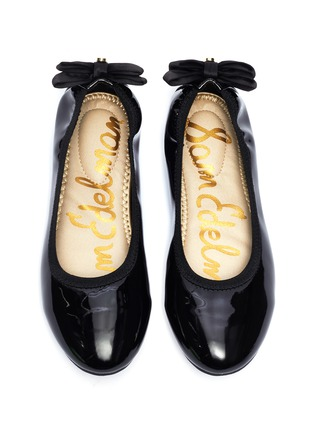 Figure View - Click To Enlarge - SAM EDELMAN - 'Felicia Esmerelda' bow tab leather ballerina flats