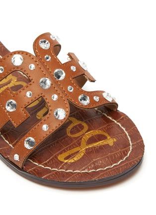 Detail View - Click To Enlarge - SAM EDELMAN - 'Bridget Crystal' stud embellished flat kids leather sandals