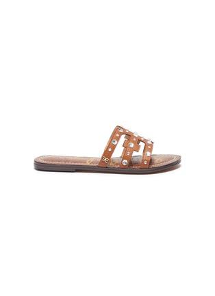 Main View - Click To Enlarge - SAM EDELMAN - 'Bridget Crystal' stud embellished flat kids leather sandals