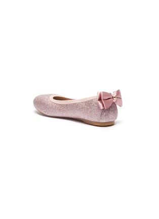 Detail View - Click To Enlarge - SAM EDELMAN - 'Felicia Esmerelda' glitter bow tab kids ballerina flats