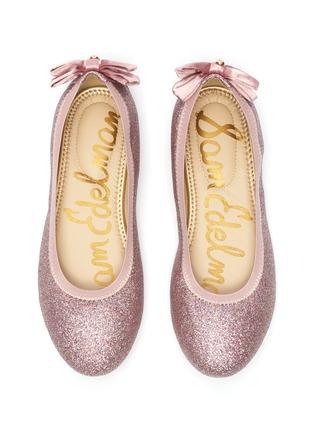 Figure View - Click To Enlarge - SAM EDELMAN - 'Felicia Esmerelda' glitter bow tab kids ballerina flats
