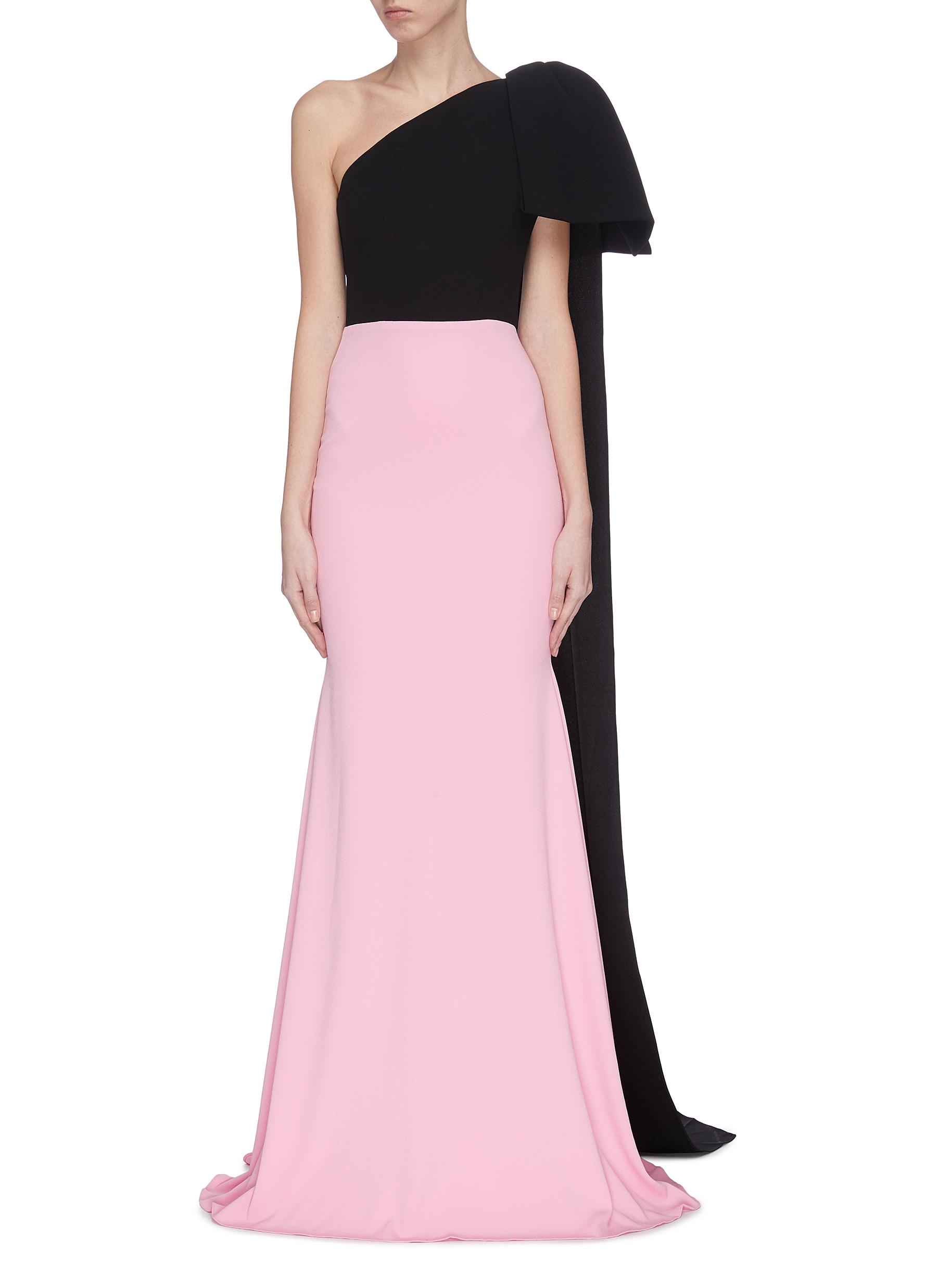 shop Alex Perry Colourblock asymmetric shoulder drape gown online