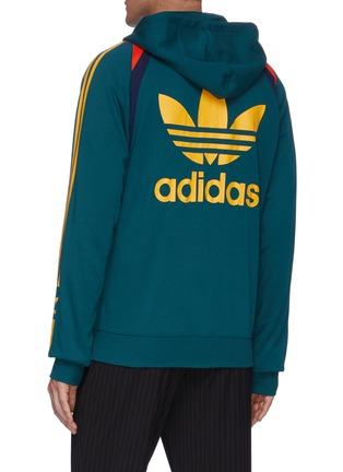 Back View - Click To Enlarge - ADIDAS X BED J.W. FORD - Colourblock stripe outseam hooded jacket