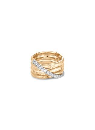 Detail View - Click To Enlarge - JOHN HARDY - 'Bamboo' diamond 18k yellow gold band ring