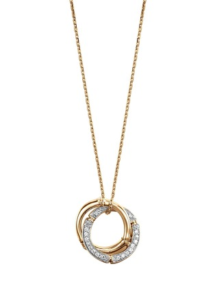Main View - Click To Enlarge - JOHN HARDY - Bamboo' diamond 18k yellow gold interlink ring pendant necklace
