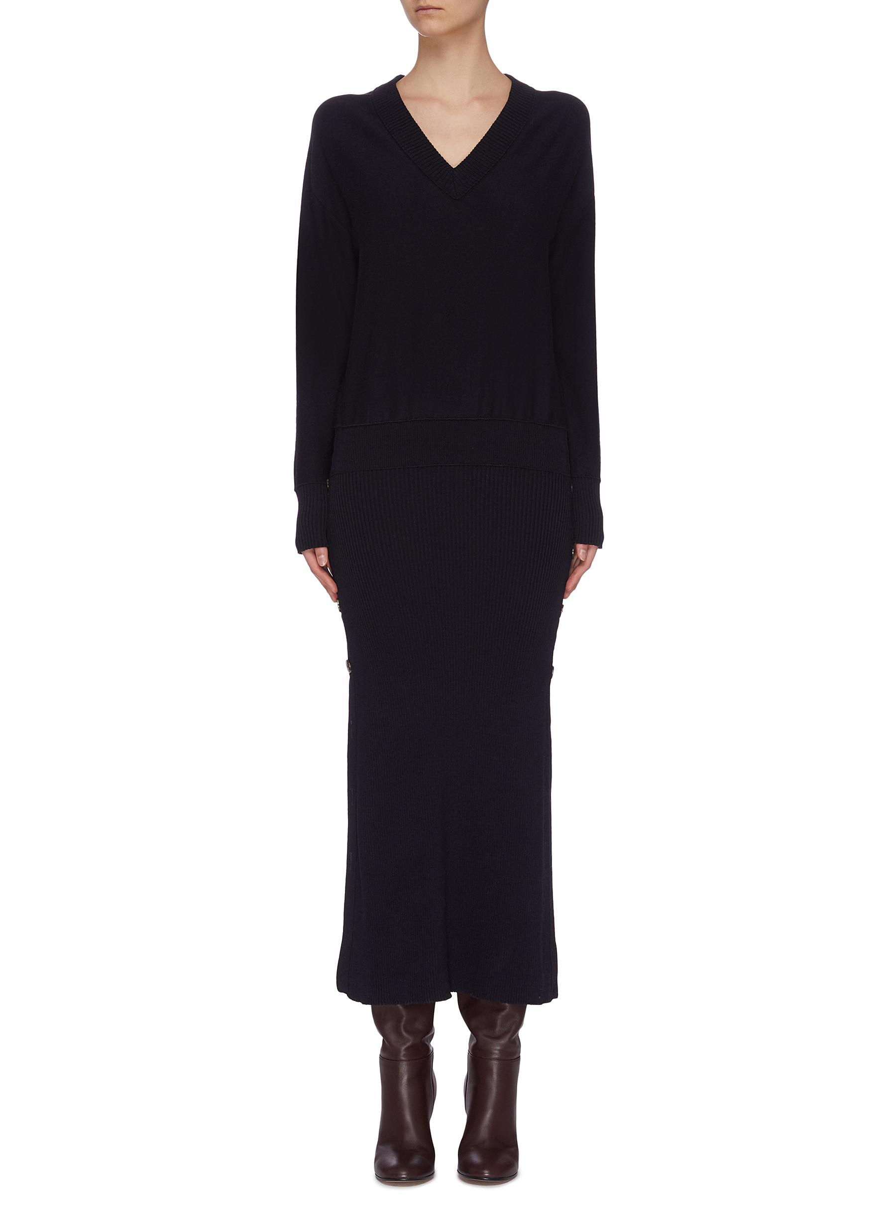 shop Cédric Charlier Button detail knit dress online