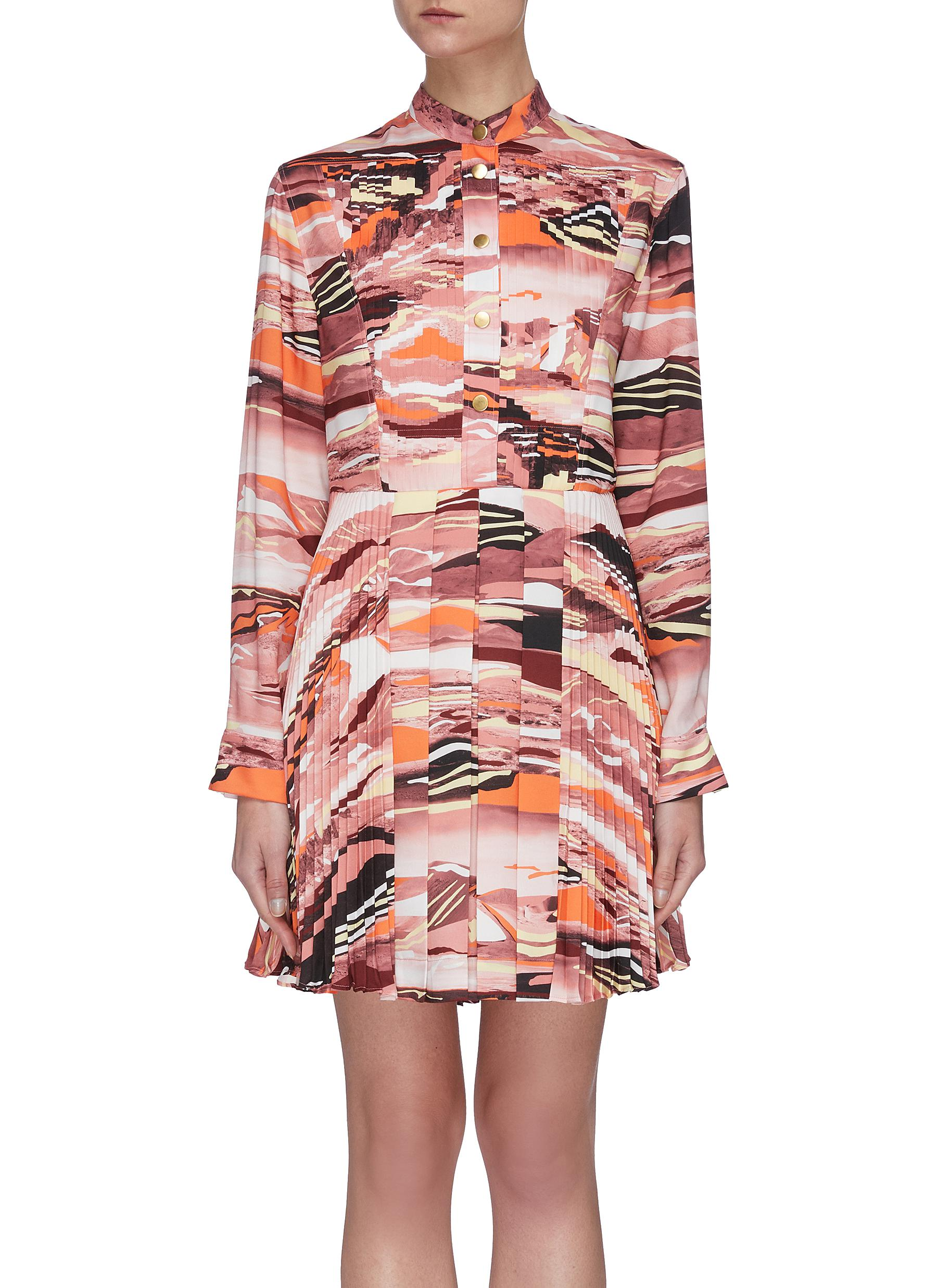 shop Cédric Charlier Abstract Print Flare Dress online