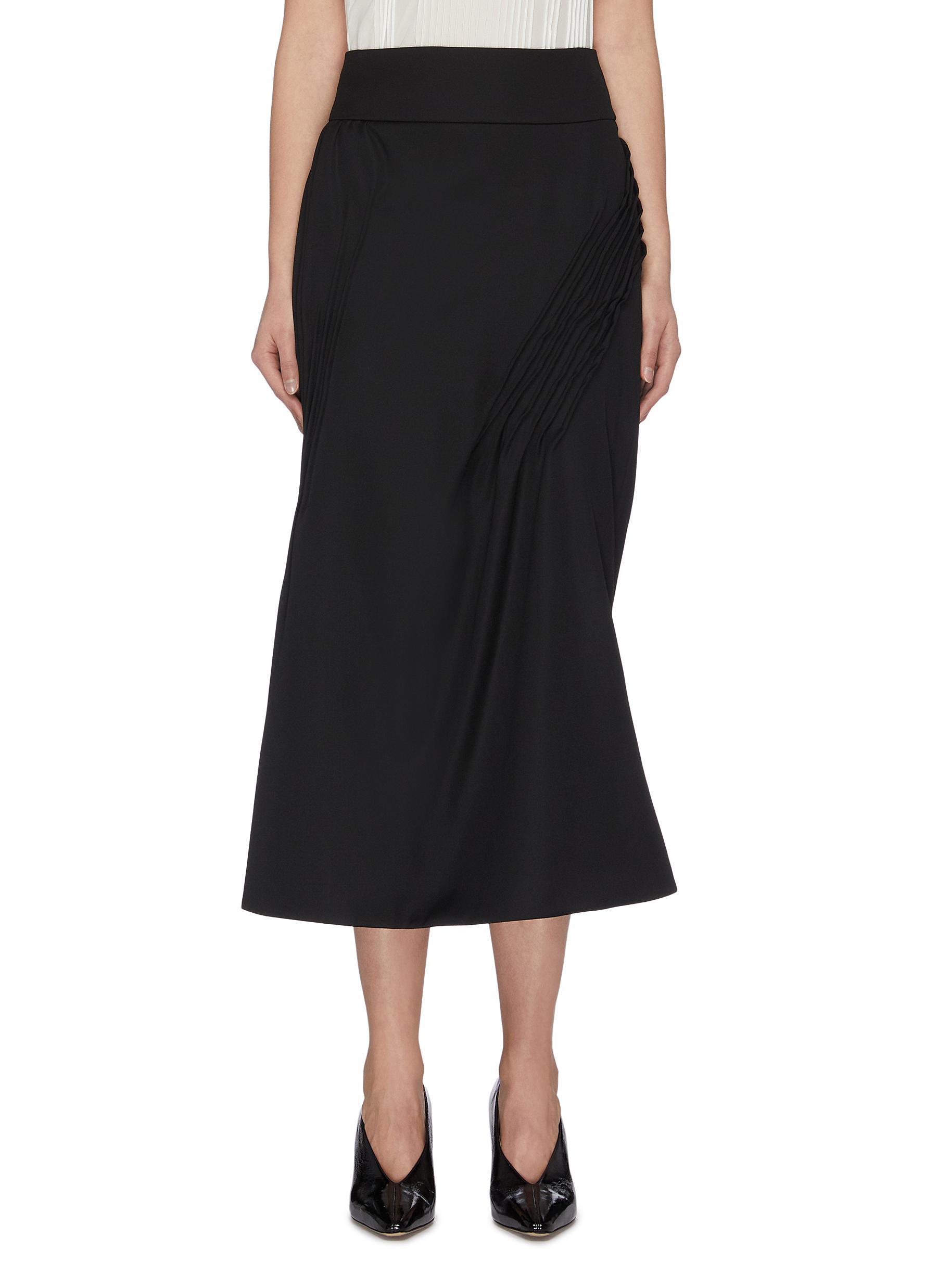 shop Nina Ricci Pintuck detail gathered skirt online