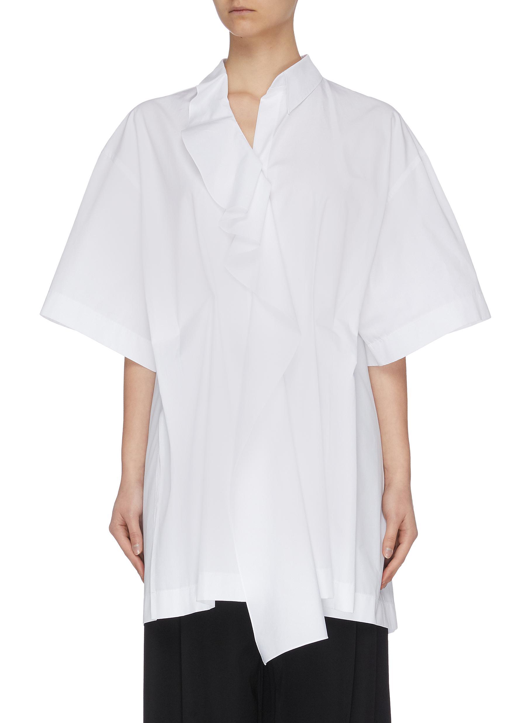Buy Nina Ricci Tops Cascading ruffle front short sleeve blouse