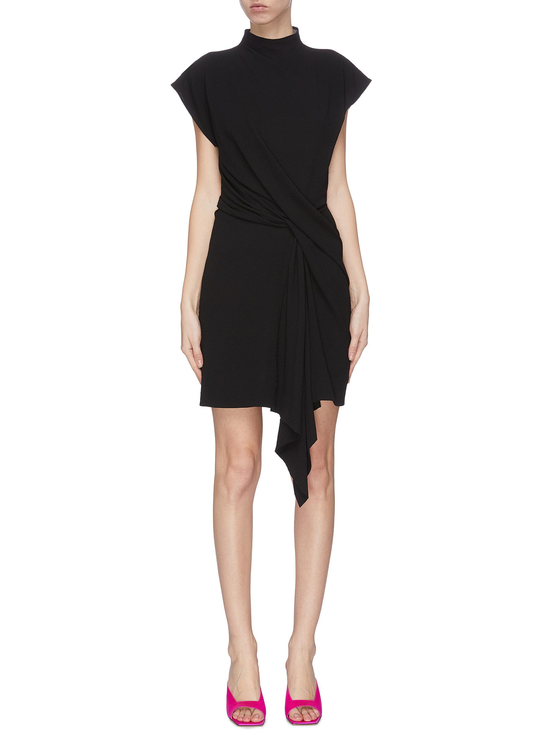 shop Nina Ricci Asymmetric drape sleeveless wrap around dress online