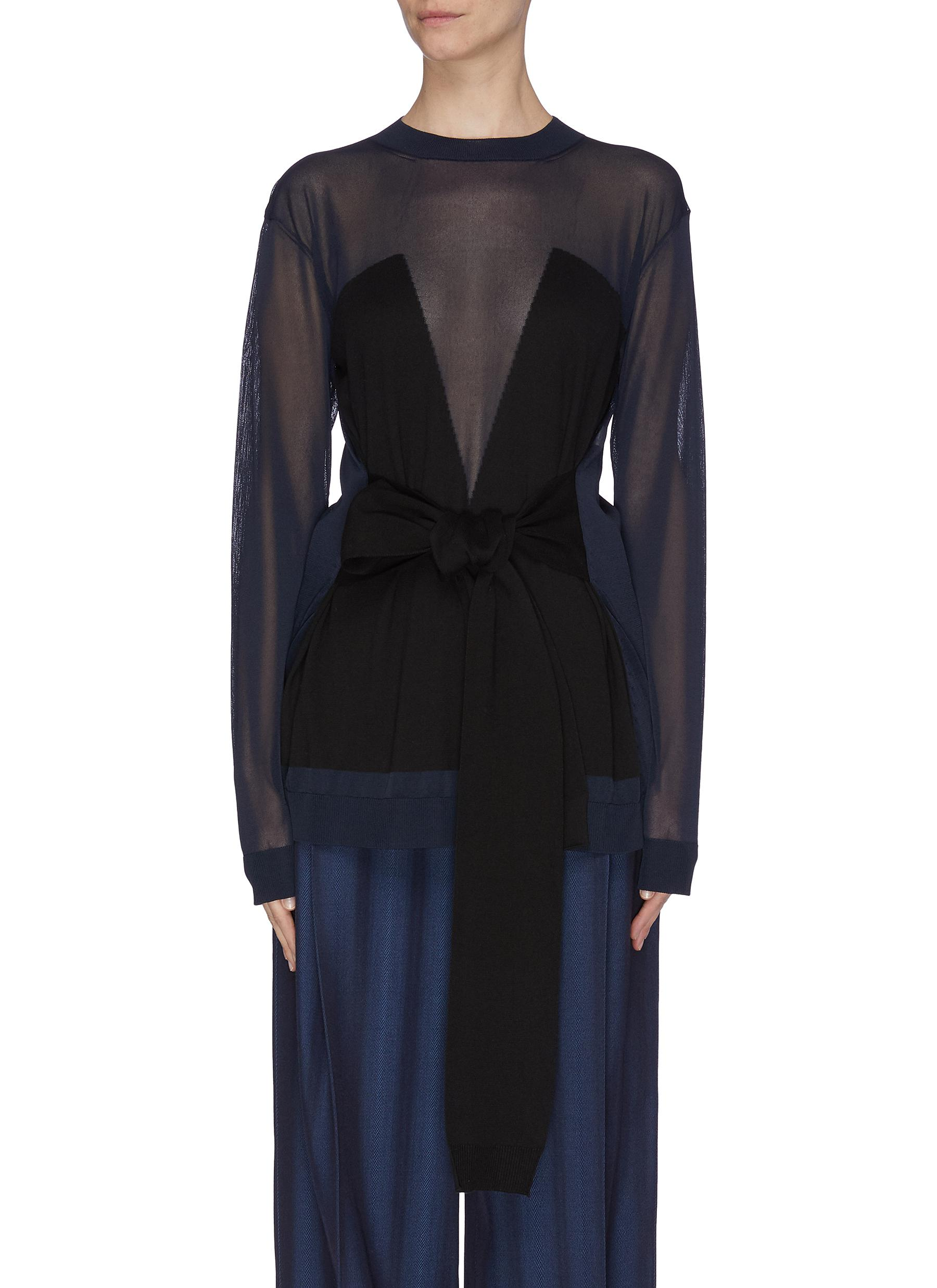 shop Nina Ricci Geometric panelled tie waist top online